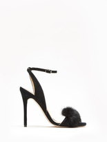 Halston Sheila Suede High Heel Sandal With Fur