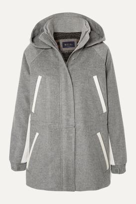 Loro Piana Hooded Leather-trimmed Cashmere Parka - Light gray
