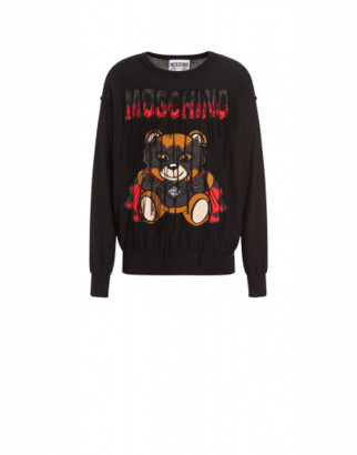 Moschino Cotton Pullover With Bat Teddy Bear Man Black Size 44 It - (34 Us)