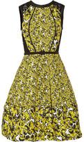 Oscar de la Renta Corded Lace-paneled Brocade Dress - Bright yellow