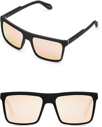 Quay 51mm Let It Run Rectangle Polarized Mirrored Sunglasses