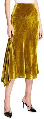 Libertine Chartreuse Velvet Asymmetric Flare Skirt