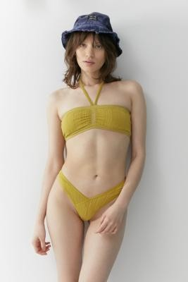 Out From Under Sunshine Shimmer Bandeau Bikini Top - Gold M at Urban Outfitters