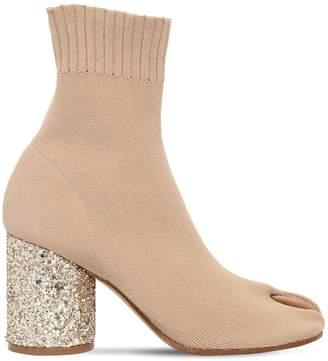 Maison Margiela 80mm Tabi Glitter Sock Knit Boots