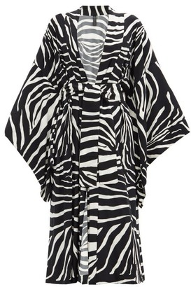 Norma Kamali Wide-sleeve Zebra-print Coat - Animal