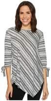 Vince Camuto Long Sleeve Tie Cuff Asymmetrical Hem Modern Track Stripe Top Women's Long Sleeve Pullover