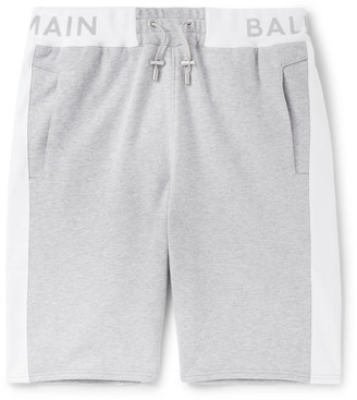 Balmain Striped Loopback Cotton-Jersey Shorts