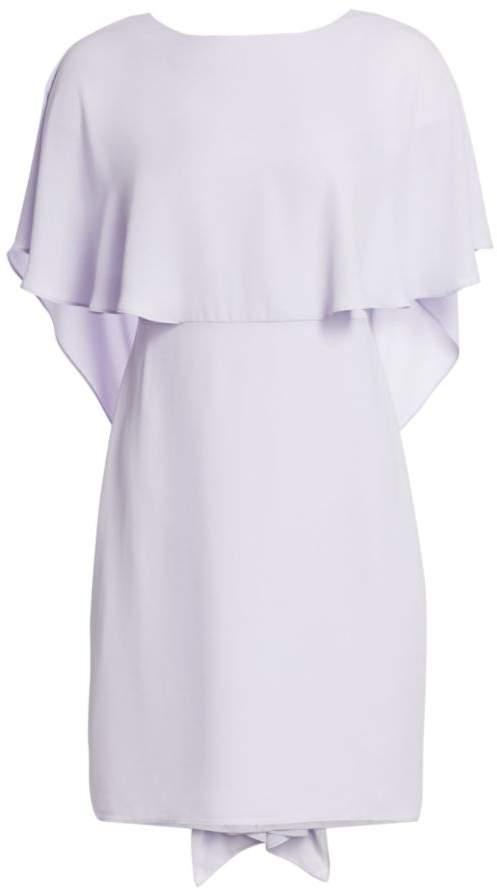 Halston Cape Sleeve High Neck Drape Back Sheath Dress