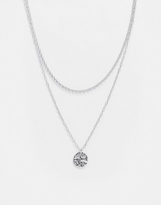 Topshop multirow necklace with coin pendant in silver