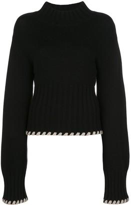 KHAITE Colette contrast-whipstitching wool jumper