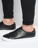 Asos Lace Up Sneakers in Black With Toe Cap