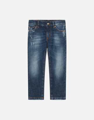Dolce & Gabbana Stretch Regular Fit Blue Washed Jeans With Rips