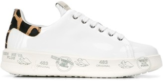Premiata White fur-heel sneakers