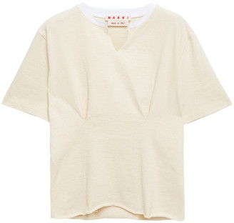 Marni Appliqued Gathered Slub Cotton-jersey T-shirt