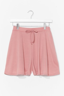 Nasty Gal Womens Tie Up Loose Ends Ribbed High-Waisted Shorts - Dusty Rose
