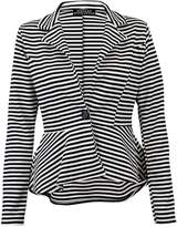 RIDDLED WITH STYLE Ladies Slim Fit Striped Jacket Womens Long Sleeve One Button Peplum Blazer Coat#( Printed Peplum Blazer Coat#UK 12-14#Womens)