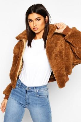 boohoo Crop Faux Teddy Fur Bomber Jacket