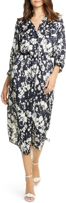 Joie Emmalyn Floral Satin Midi Shirtdress