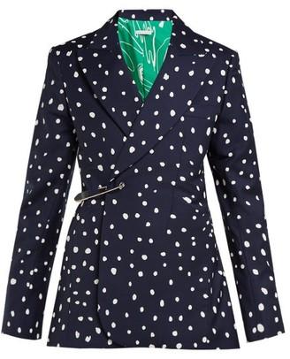 Charles Jeffrey Loverboy Polka Dot-print Safety-pin Cotton-twill Blazer - Womens - Navy Multi
