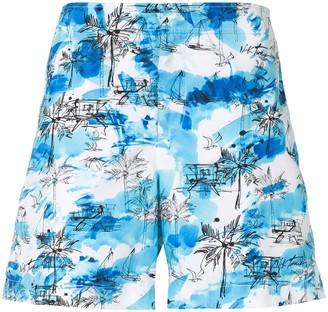 Orlebar Brown Beach Print Tie-Dye Shorts