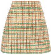 Miu Miu Checked Wool-blend Tweed Mini Skirt - Yellow