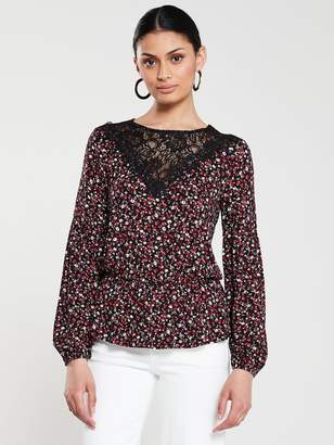 Very Lace Trim Elasticated Waist Top - Black Floral