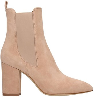 Paris Texas High Heels Ankle Boots In Beige Suede