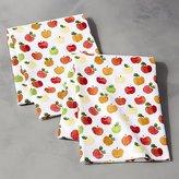 Crate & Barrel Watercolor Apples Dishtowels, Set of 2