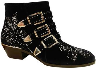 Chloé Susanna Navy Velvet Boots