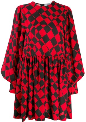 MSGM Geometric-Print Mini Dress
