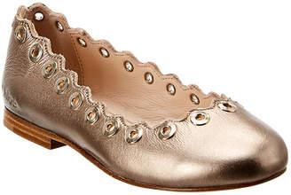 Chloé Scallop Leather Ballerina Slipper