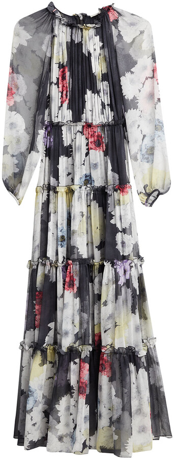 Thumbnail for your product : Jason Wu Collection Small Peony-Print Crinkle Chiffon Dress