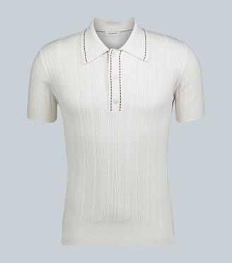 Wales Bonner Textured-knit cotton polo shirt