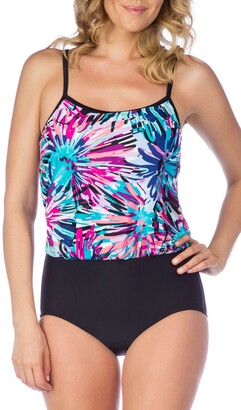 Maxine Of Hollywood Women's Spinart Print Blouson Mio One Piece Swimsuit
