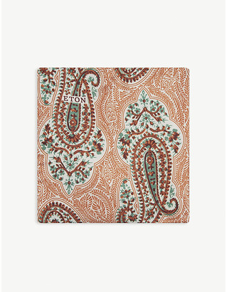 Eton Big paisley print silk pocket square