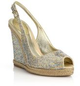 Rene Caovilla Strass Espadrille Wedge Slingback Sandals