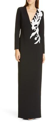 Pamella Roland V-Neck Stretch Crepe Gown