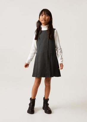 MANGO Wide pleated dress dark heather grey - 6 - Kids