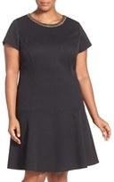 Ellen Tracy Chain Detail Piqué Drop Waist Dress (Plus Size)