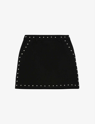 The Kooples Stud-embellished high-waisted wool mini skirt