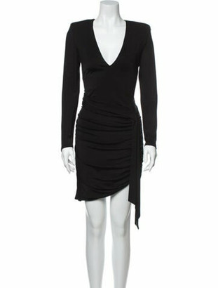 Alice + Olivia V-Neck Mini Dress Black