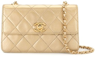 Chanel Pre Owned 1997 Small Diamond Quilted Chain Crossbody Bag