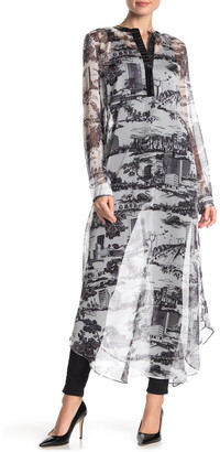 Tov Faux Leather Trim Printed Sheer Tunic