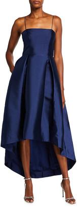 Parker Black Hazel Satin Twill High-Low Gown