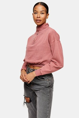 Topshop Womens Tall Pink Acid Wash Zip Neck Funnel Neck Sweatshirt - Pink