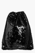 boohoo Ebony Sequin Drawstring Rucksack