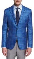 Ermenegildo Zegna Milano Cashmere/Silk Plaid Two-Button Jacket, Light Blue