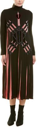 Valentino Pleated Silk Midi Dress