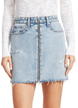 Rag & Bone Anna Zip Distressed Denim Mini Skirt