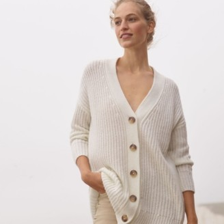 The White Company Rib Textured Cardigan with Alpaca, Porcelain, Extra Small